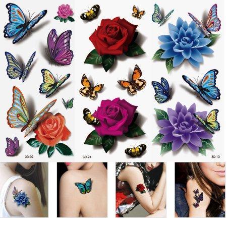 3 Hojas de 3D a prueba de agua tatuajes temporales de la flor de mariposa del tatuaje falsifican la etiqueta engomada