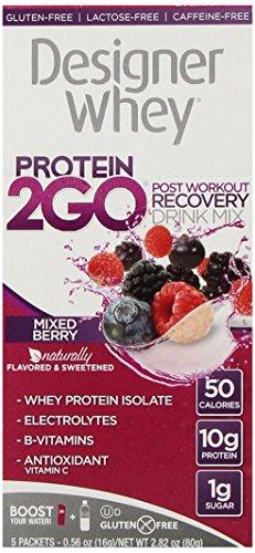 Diseño de la proteína proteína 2Go mezcla de la bebida, baya mixto, 0,56 onzas (5 paquetes)