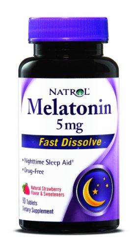 Natrol melatonina 5mg, sabor a fresa y edulcorantes, 90 rápida disolver tabletas