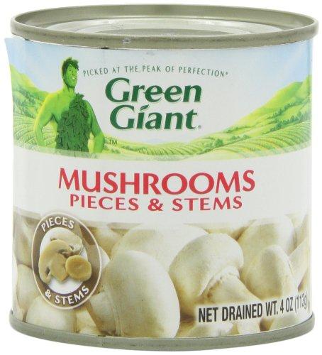 Gigante verde champiñones piezas y tallos, latas de 4 onzas (paquete de 24)