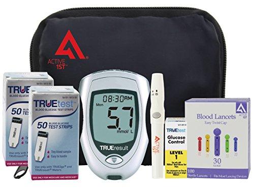 active1st TrueTest Diabetes pruebas Kit completo, cuenta 100 (metro TrueResult, 100 tiras reactivas, 100 lancetas de 30g, dispositivo de punción, solución de Control, propietarios Manual/Log Book)