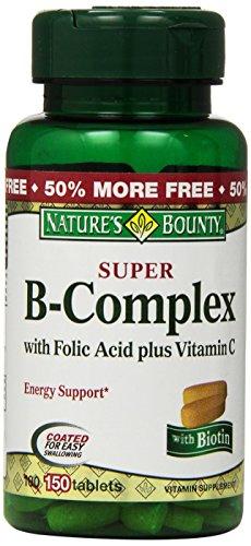 Recompensa súper complejo de la naturaleza B con ácido fólico más vitamina C, 150-Conde