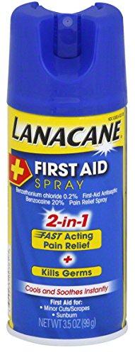 Lanacane primera ayuda Spray, antiséptico y dolor alivio Spray para cortes y quemaduras de sol, 3,5 onzas