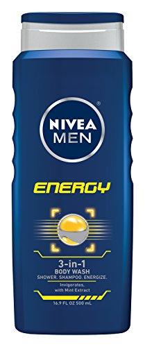NIVEA MEN energía 3 en 1 Body Wash Gel de ducha, 16.9 oz botella (paquete de 3)