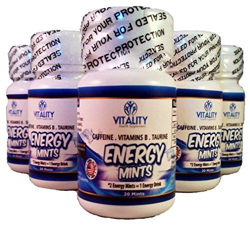 Vitalidad energía mentas - mejor saborizada menta con cafeína comprimidos que contienen 50 Mg cafeína Energy Boost con 0 calorías y azúcar 0 - contiene vitaminas del grupo B y taurina (6 botellas/30 mentas Ea.)