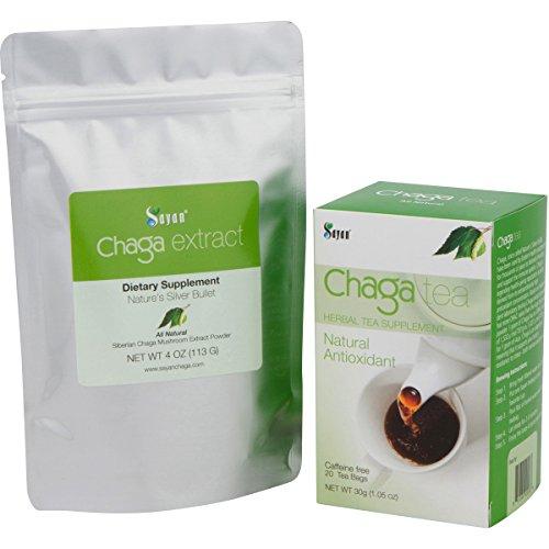 Siberiano silvestre cosechado Chaga extracto en polvo y té de Chaga - 4oz + caja de té