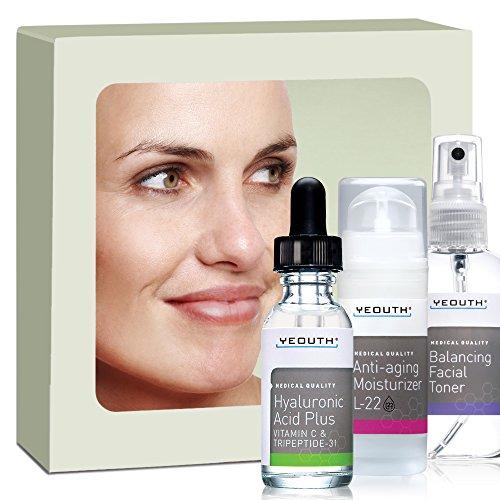 Mejor Anti-Aging 3 Pack piel cuidado sistema de YEOUTH, profesional grado ácido hialurónico Plus, crema hidratante Facial L22 patentado y equilibrio Tónico Facial - le encantará o le devolvemos su dinero!