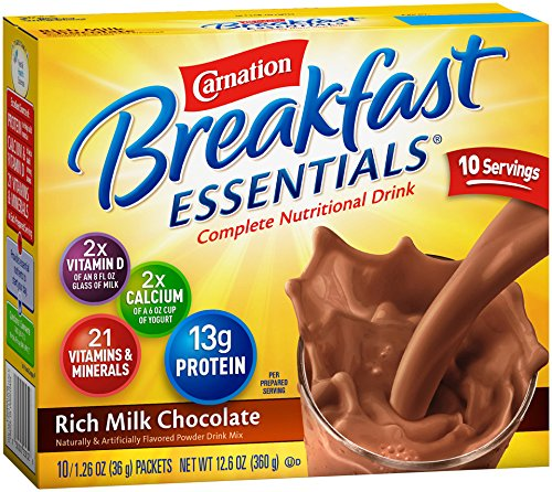 Clavel Breakfast Essentials, rico Chocolate con leche en polvo, oz 1,26, sobres 10-Count (paquete de 6)