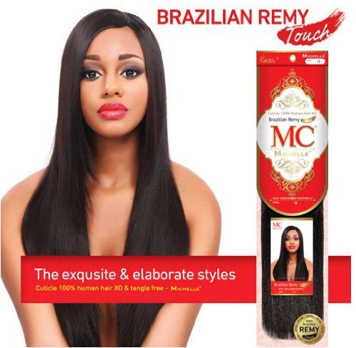 Mezcla de pelo de Michelle humanos tejer brasileño Remy toque Yaki 14