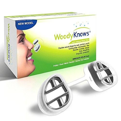 Allergy & Sinus Relief - WoodyKnows® Super defensa nariz o nasales filtros - purificadores de aire tamaño - remedio Natural para las alergias estacionales, rinitis alérgica, Sinusitis de viaje - quitar los alérgenos, polen, polvo, esporas de moho, par