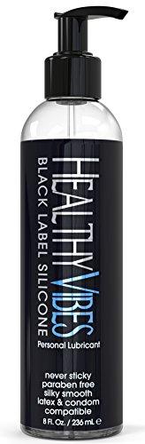 A base de silicona de vibraciones saludables Premium lubricante íntimo 8 Fl Oz - Safe látex - Paraben libre y glicerina libre Platinum Black Label lubricante - para hombres y mujeres - bomba superior