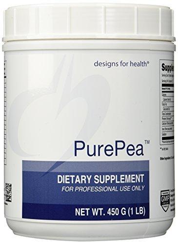 Diseños de salud Pea Purepea proteína en polvo, sin sabor, 450 gramos