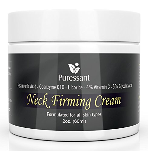 Cuello mejor crema reafirmante - 2 oz. Con ácido hialurónico, coenzima (CoQ10), regaliz, vitamina C, glicólicos. Para arrugas y flacidez de la piel de apriete   Puede usar en cara, pecho y cuerpo con abrigos.
