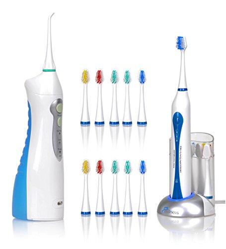Bienestar cuidado bucal Ultra alta potencia recargable Sonic cepillo de dientes eléctrico con 20 cabezas y el agua Flosser Kit