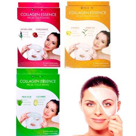 4 Pc máscaras faciales de colágeno Hojas contra el envejecimiento de la humedad de la piel Cuidado de la Nu-Pore paquete de 2!