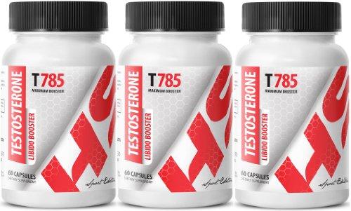 La testosterona Libido Booster T785. Fórmula del realce masculino. Máximo recto (3 botellas, 180 comprimidos)
