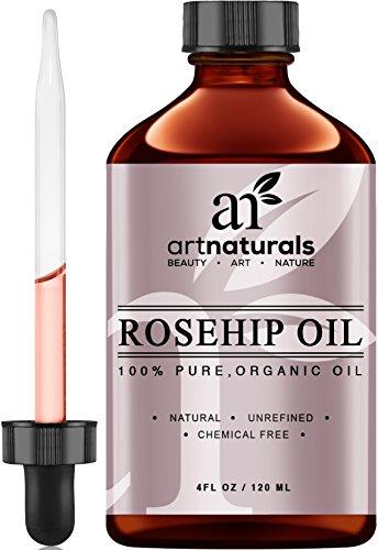 Aceite de rosa mosqueta ArtNaturals - 100% certificado orgánico - Virgen pura, fría presionado y Unrefined 4oz - Crema hidratante mejor Natural para curar la piel seca, líneas finas y cicatrices - rosa mosqueta semilla aceite para cabello y piel de la car