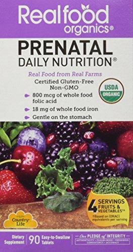 País vida reales de los alimentos orgánicos Prenatal Multivitaminico Tabs, 90 ct