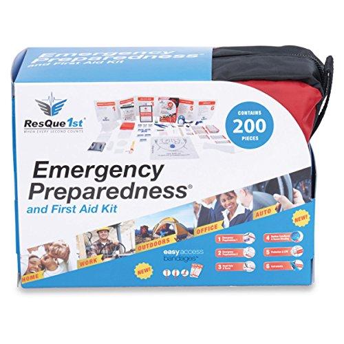 ResQue1st completo de primeros auxilios y preparación para emergencia Kit · 200 piezas · Mejor coche · Inicio · Oficina · Escuela · Viajes · Camping · Senderismo y deportes · Equipo de supervivencia · Fallo bolsa
