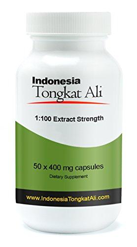 Testosterona natural - Indonesia Tongkat Ali extracto (1: 100 Extracto de fuerza) - 50 cápsulas - 400 mg por cápsula [también conocido como Longjack o Eurycoma Longifolia Jack]