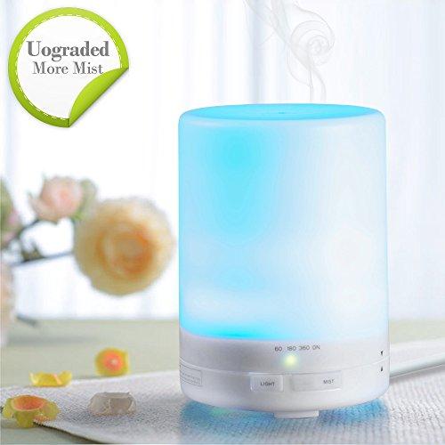 300ml difusor de aceite esencial Aroma purificador, humidificador de vapor frío ultrasónico Portable [versión mejorada] con Auto cierre de función 7 Color LED luces para hogar oficina dormitorio de bebé
