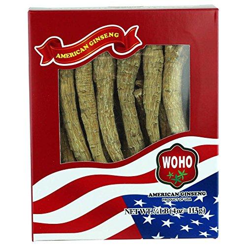 WOHO Ginseng americano 100.4, XL largo grande cultivado raíces 4oz