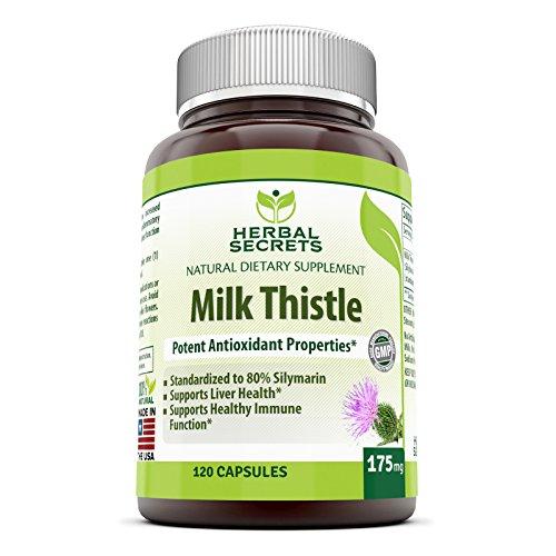 Herbario Standerdized de cardo - 175mg de extracto de leche Thistlet (semilla) - secretos leche contener 80% silimarina (140 mg) cápsula - soporta la función sana de hígado y desintoxicación, promueve inmune función - 120 cápsulas por envase