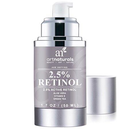 ArtNaturals mejorada Retinol Crema humectante 2,5% con 20% de vitamina C y ácido hialurónico 30ml