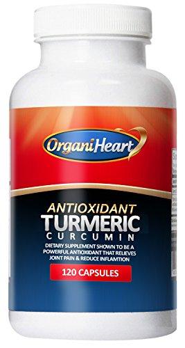 OrganiHeart - curcumina de la cúrcuma - 100% antioxidante Natural - 120 cápsulas (120 cápsulas) (120 Capules)