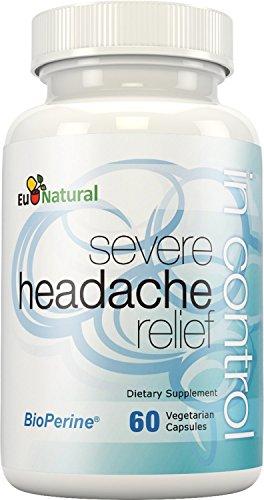En el alivio de la migraña del Control, 60 cápsulas vegetarianas (fórmula de fuerza Extra para fuertes dolores de cabeza con Butterbur y Matricaria)