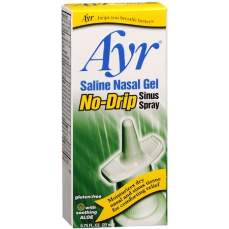 Ayr Saline Nasal Gel No-Drip Sinus spray 075 oz (Pack de 4)