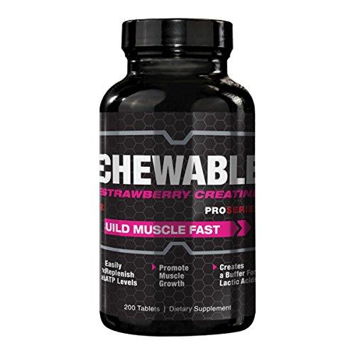 Ganancia de muscular creatina fresa masticable proSeries, crecimiento y recuperación suplemento - 200 tabletas