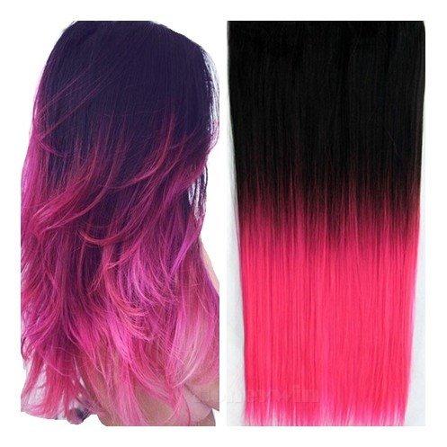"""Honeywin 24"""" mujeres colorido degradado Ombre recta 5 Clips en postizos extensiones cabello negro Color Rosa 130g"""