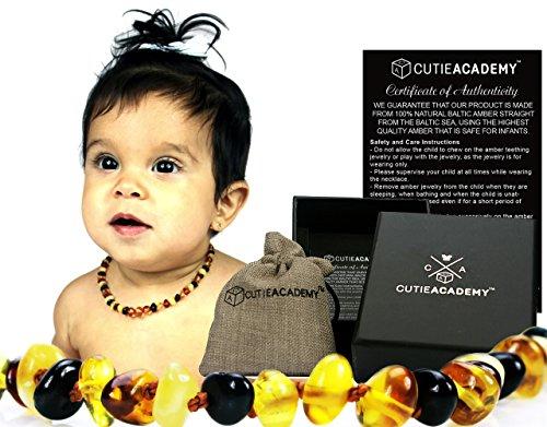 Collar ámbar de la dentición para los bebés - (Multicolored)(Unisex) por Academia de Cutie - certificados de alta calidad - Baba Natural reducir y aliviar el dolor suave propiedades