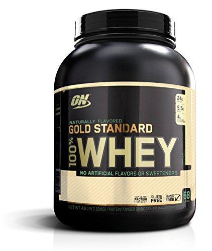 La nutrición óptima Gold Standard 100% Whey, naturalmente con sabor a vainilla, 4,8 libras