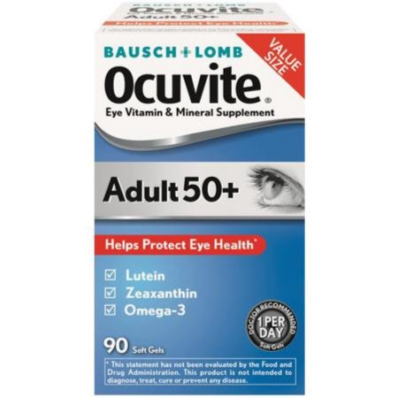 Bausch - Lomb Ocuvite Adult 50- Eye Vitamin -amp- Mineral Supplement Softgels 90 ea (Pack of 3)