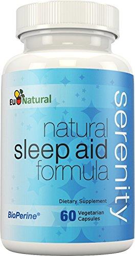 Ayuda para dormir Natural serenidad, 60 cápsulas vegetarianas (fórmula de fuerza Extra y no hábito con melatonina, valeriana, manzanilla, flor de la pasión)