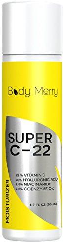Vitamina C crema hidratante - mejor crema para la cara - 22% 20% de ácido hialurónico, vitamina C 2,5% niacinamida, 2.5% CoQ10 - Natural + orgánico loción anti-envejecimiento para arrugas, líneas, acné y manchas - cuerpo feliz