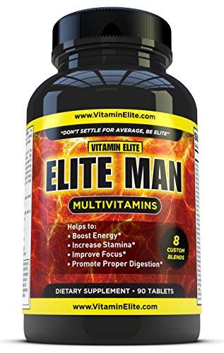 Elite hombre multivitaminas para hombres - fórmula All-in-one ayuda a aumentar energía, mejorar el enfoque y la resistencia - 90 tabletas