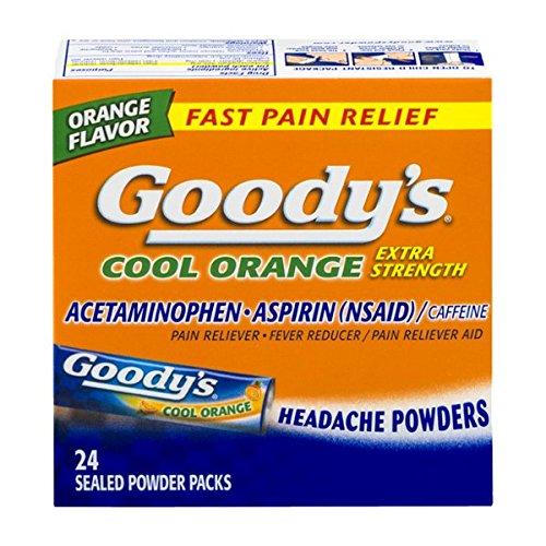 Goody de fresco naranja Extra Strength, analgésico en polvo, cuenta 24