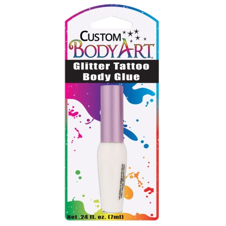 Custom Body Art - Botella 7 ml de brillo del cuerpo del tatuaje con pegamento cepillo del aplicador