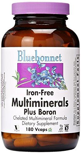BlueBonnet Multi minerales más No de boro hierro vegetariana cápsulas, cuenta 180
