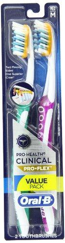 Oral-B pro salud clínica Pro-Flex medio cepillo de dientes, cuenta 2, (los colores pueden variar)