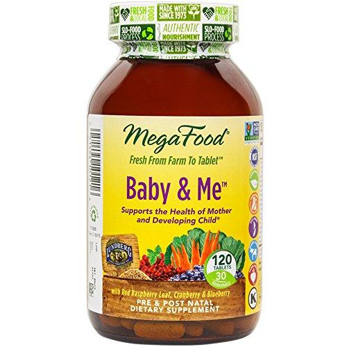 MegaFood - Baby & Me, apoyo Prenatal y Postnatal para la madre y el bebé, 120 tabletas