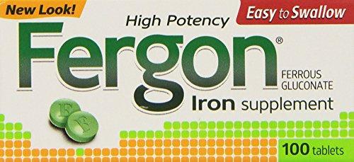 Suplemento de hierro de Fergon, tabletas, 100 Count (paquete de 3)