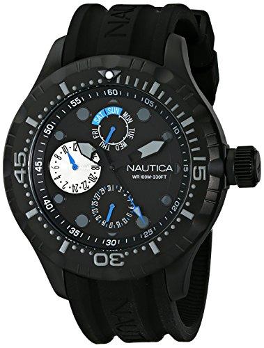 Nautica N16681G BFD 100 acero inoxidable negro deporte ver hombres con banda de silicona