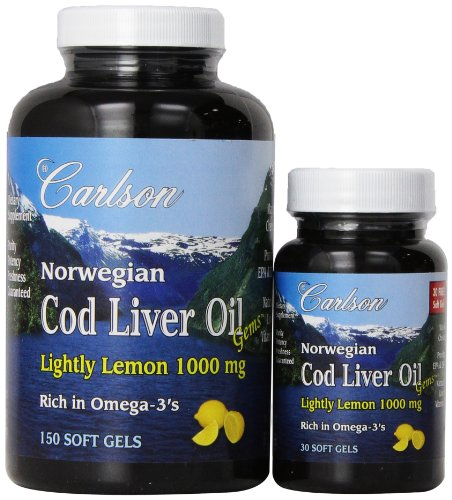 Carlson Labs Carlson laboratorios Bonus Pack bacalao aceite de hígado cápsulas, 1000 mg, sabor a limón, cuenta 180