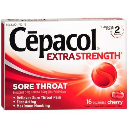 Cepacol dolor de garganta Oral Analgésico Lozenges Cherry 16 ea (paquete de 1)