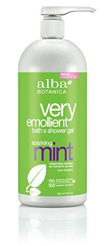 Alba Botanica menta chispeante, muy emoliente baño y Gel de ducha, 32 onzas