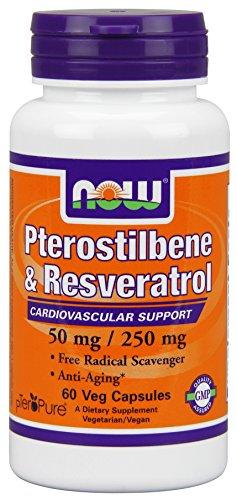 Ahora alimentos pterostilbeno y Resveratrol 50 mg, 250 mg, cápsulas vegetales, cuenta 60